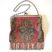 Gorgeous Antique Victorian Micro Steel  Beaded Purse