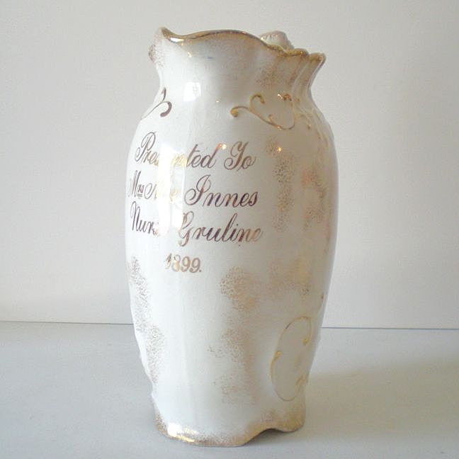 "Award Presentation Pitcher ""Nurse Gruline"" Dated 1899"