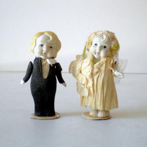 (2) 1930s  Bisque Dolls Bride & Groom Cake Topper
