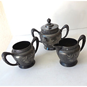 Silver Plated  Set Creamer & Sugar & Lidded Vessel