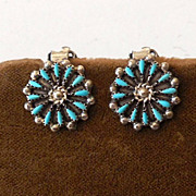 Vintage Silver and Turquoise Zuni Needlepoint Earrings