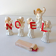 Vintage NOEL Candle Set In Box w/ Candles and Angel
