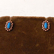 Small Vintage Copper & Turquoise Post Earrings