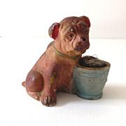 Old Figural Chalkware Bulldog Pin Cushion