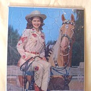 Vintage 1950's Walzer Children's Puzzle Cowgirl And Horse