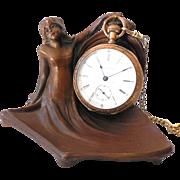 Antique Figural Art Nouveau Lady Pocket Watch Holder