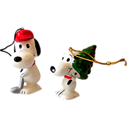 (2) Ceramic Peanuts Gang Ornaments Snoopy Japan