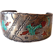 Silver Zuni Indian Bracelet w/ Inlaid Turquoise & Coral