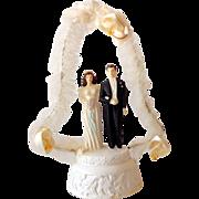 Unusual Vintage Wedding Cake Top Bride & Groom
