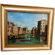 """Small Early Framed Painting """"Venice"""""""
