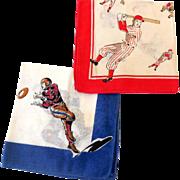 (2) Childrens Hankies Sports Baseball Football Basketball