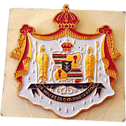 Large Gold Tone Metal and Enamel Pin Royal Hawaiian Crest