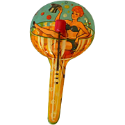 Large 1940s Pin Up Tin Lithograph Noisemaker
