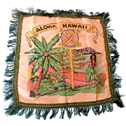 Vintage Hawaiian Islands Souvenir Satin Pillow Cover