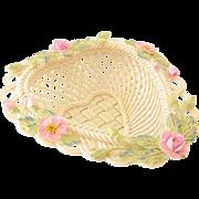"Lovely Belleek Heart Shaped Basket ""Rose of Tralee"""