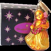 Retired Christopher Radko Blown Glass Hula Girl Ornament in Box