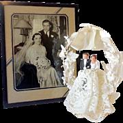 1940s Wedding Cake Top and Original Framed Wedding Photo
