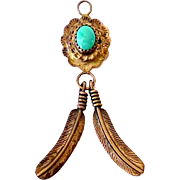 Vintage Native American Pendant Sterling and Turquoise