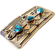 """Navajo Silver & Turquoise Belt Buckle Signed """"RB"""""""