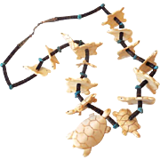Natural Stones and Turquoise Necklace With Carved Turtles 28""