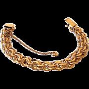12K GF Signed Gold Fill Double Link Charm Bracelet