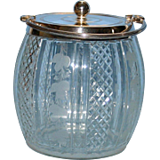 Antique Biscuit Jar -  Etched and Cut Glass with Ivy Pattern