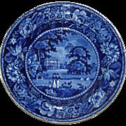 c. 1825 Ralph Hall English Historical Blue Transfer Plate Llanarth Court, Wales