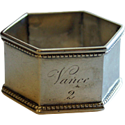 Antique Coin Silver Napkin Ring - Vance