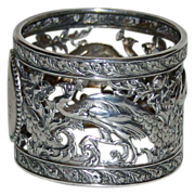 Antique American Coin Silver Napkin Ring with Peacocks