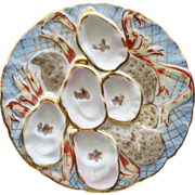Antique Turkey Oyster Plate, Unusual Colors