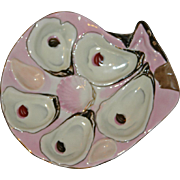 German Weimar  Oyster Plate, Antique Shell Shaped in Lustrous Pink