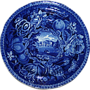 c. 1830 Historical Blue English Transferware Plate - Pains Hill Surrey by Hall