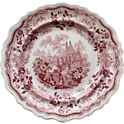 Red Temple Warriors Transferware Plate by Adams c. 1830