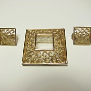 Lovely signed Karen Brent Demi Parure Gold Tone Filigree