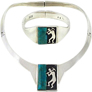 Taxco Modernist Sterling Silver Mexico Necklace and Clamper Bracelet from Two Trees