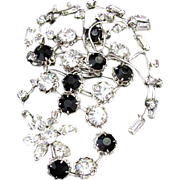 Huge Original by Robert Rhinestone & Jet Black Glass Brooch