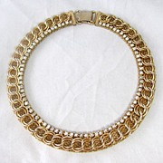 Beautiful Jewels By Julio Mesh and Rhinestone Choker Necklace