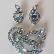 Beautiful Jay Kel Original Demi Parure with Blue AB Rhinestones