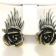 Vintage signed Botticelli Rose Earrings