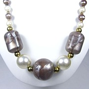 Bold Mauve Plastic Beads and Faux Pearl necklace