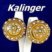 Kalinger Paris Bold Rhinestone Dome Gold Tone Earrings