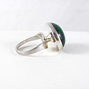 Modernist Sterling Silver and Green Turquoise ring Size 7