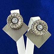 Designer Sylvie Germain Modernist Chrome & Rhinestone Earrings