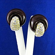 Vintage Rhinestone and Celluloid Earrings
