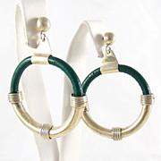 Modernist Sterling Silver Mexico Dangle Loop Pierced Earrings
