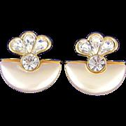 Vintage Large Rhinestone & Faux Pearl Dangle Earrings