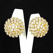 Bold Dazzling Clear Rhinestone Domed Earrings