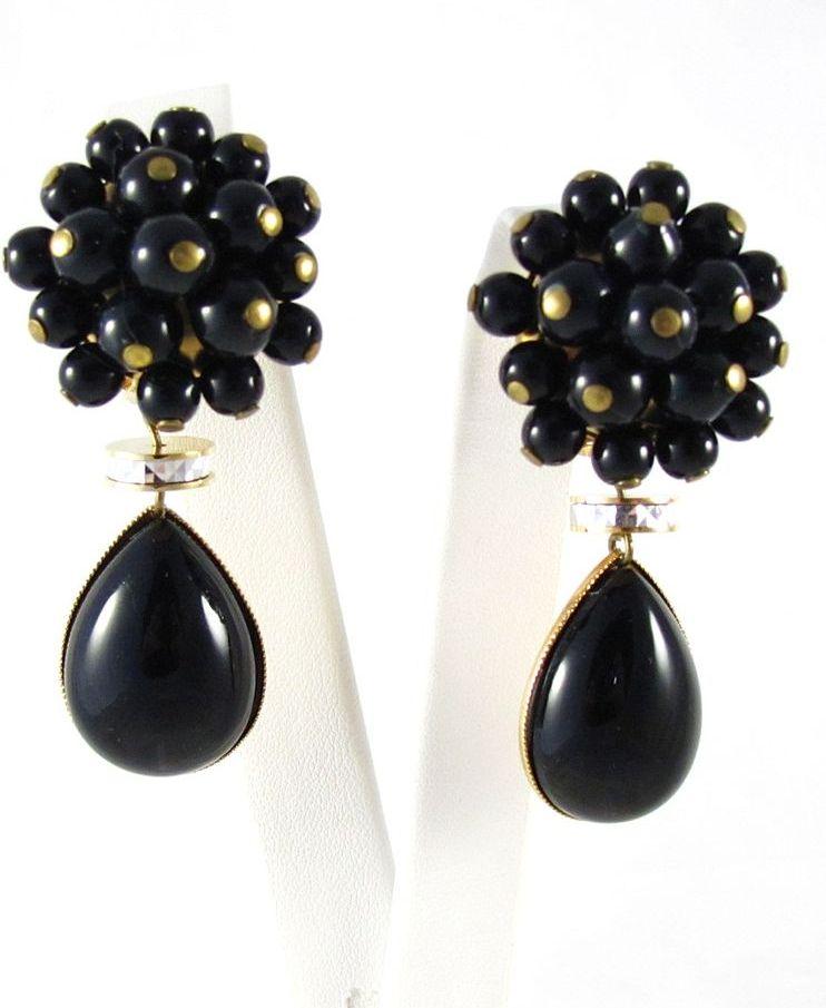 Vintage Large Jet Black Dangle Drop Earrings