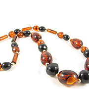 Bold Cognac & Jet Black Lucite Beads Long Necklace