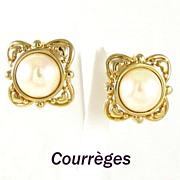 Courreges Paris Large Simulated Pearl Earrings